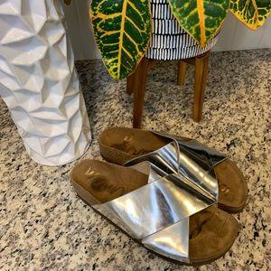 Sam Edelman Silver Metallic Adora Slides Sandals